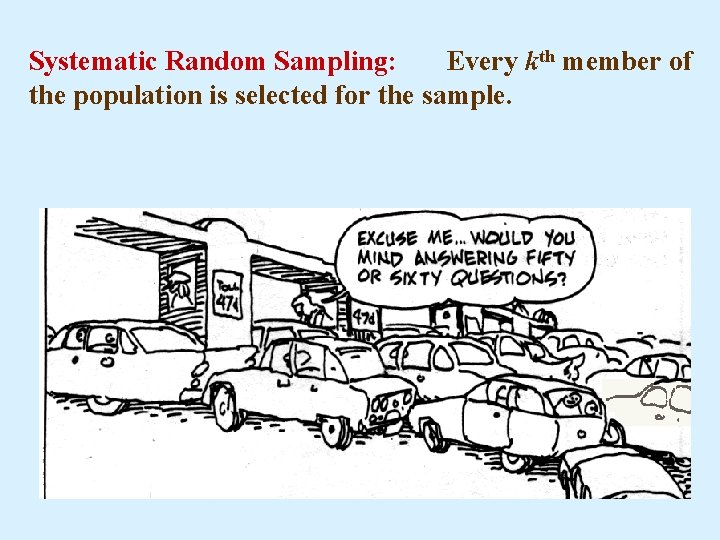 Systematic Random Sampling: Every kth member of the population is selected for the sample.