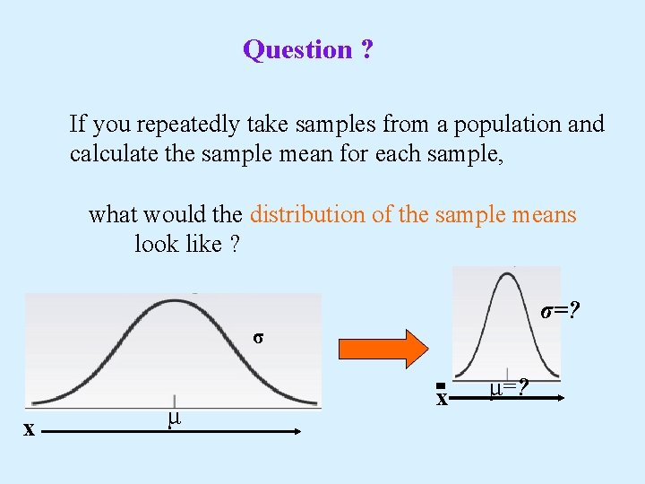 Question ? If you repeatedly take samples from a population and calculate the sample