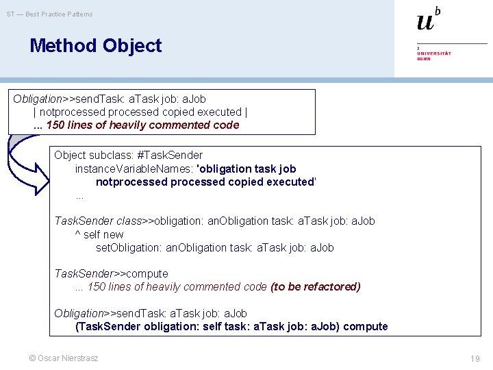 ST — Best Practice Patterns Method Object Obligation>>send. Task: a. Task job: a. Job