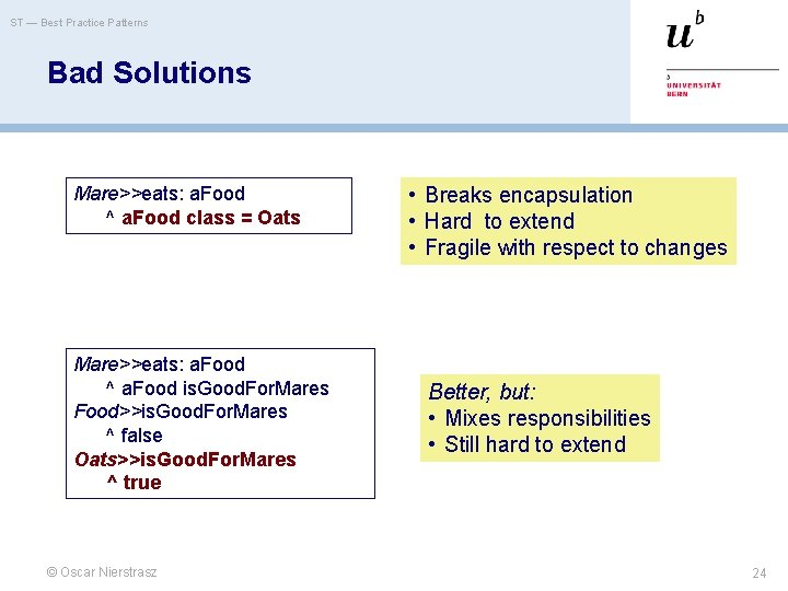 ST — Best Practice Patterns Bad Solutions Mare>>eats: a. Food ^ a. Food class