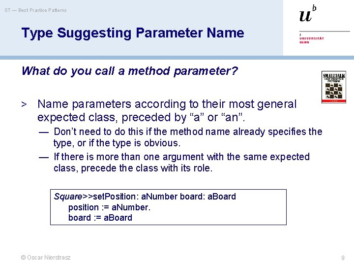 ST — Best Practice Patterns Type Suggesting Parameter Name What do you call a