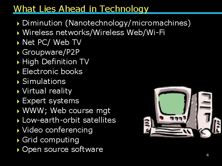 What Lies Ahead in Technology 4 Diminution (Nanotechnology/micromachines) 4 Wireless networks/Wireless Web/Wi-Fi 4 Net