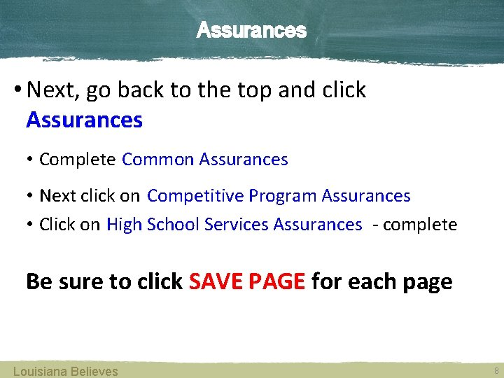 Assurances • Next, go back to the top and click Assurances • Complete Common