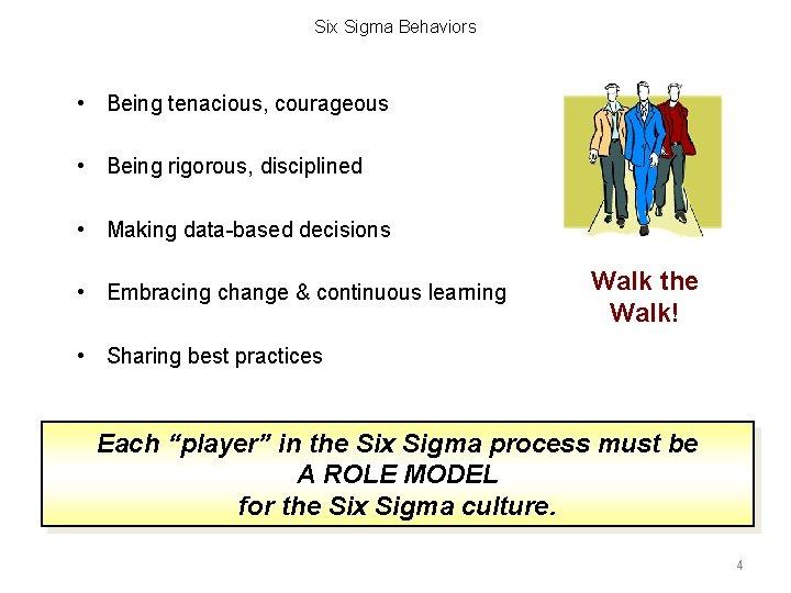 Six Sigma Behaviors • Being tenacious, courageous • Being rigorous, disciplined • Making data-based