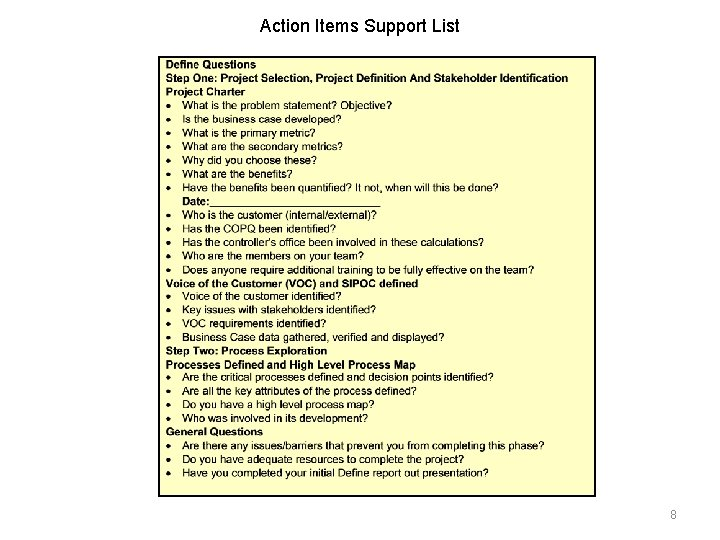Action Items Support List 8