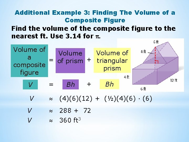 Additional Example 3: Finding The Volume of a Composite Figure Find the volume of