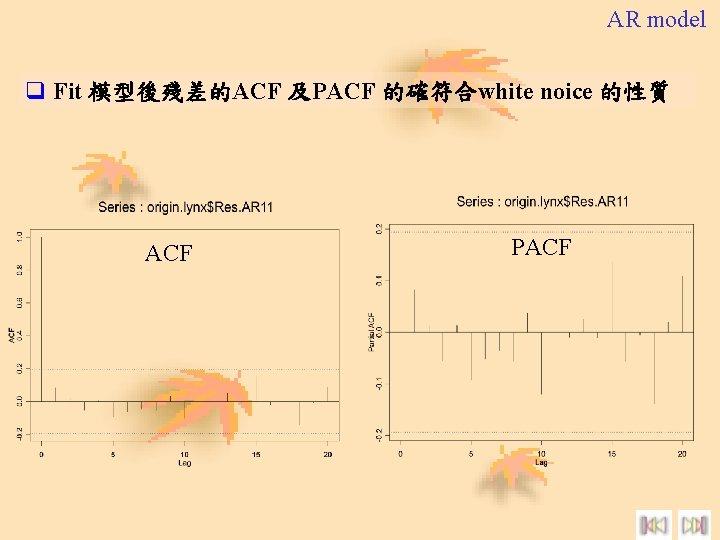 AR model q Fit 模型後殘差的ACF 及PACF 的確符合white noice 的性質 ACF PACF