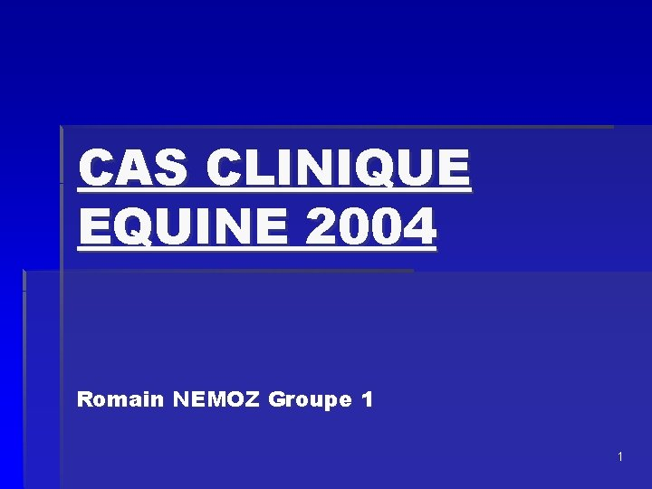 CAS CLINIQUE EQUINE 2004 Romain NEMOZ Groupe 1 1