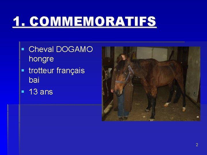 1. COMMEMORATIFS § Cheval DOGAMO hongre § trotteur français bai § 13 ans 2
