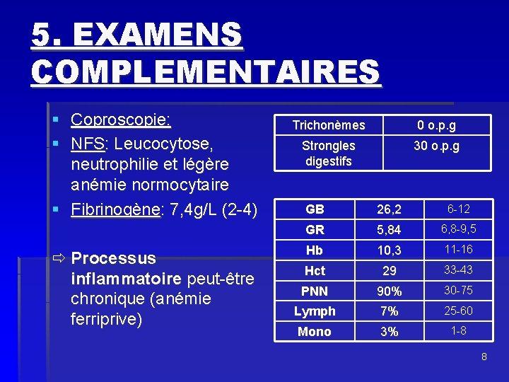 5. EXAMENS COMPLEMENTAIRES § Coproscopie: § NFS: Leucocytose, neutrophilie et légère anémie normocytaire §