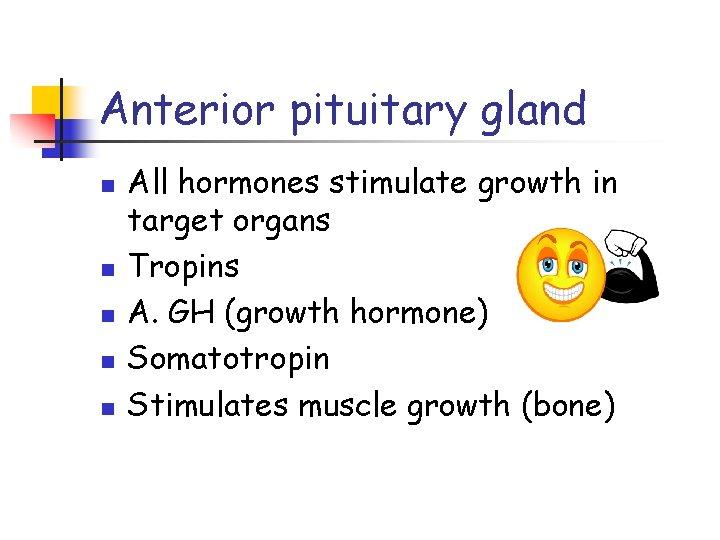 Anterior pituitary gland n n n All hormones stimulate growth in target organs Tropins