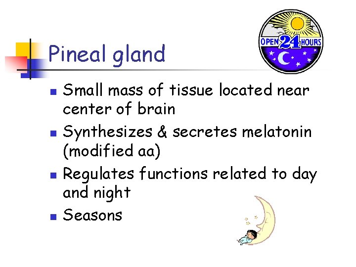 Pineal gland n n Small mass of tissue located near center of brain Synthesizes