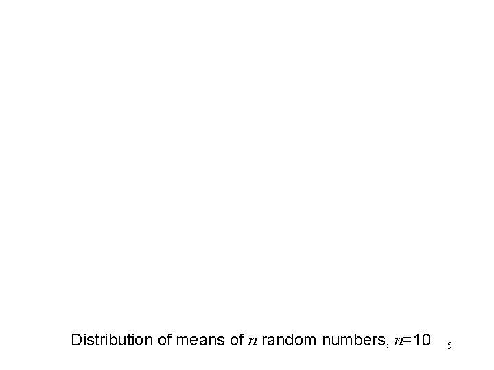 Distribution of means of n random numbers, n=10 5