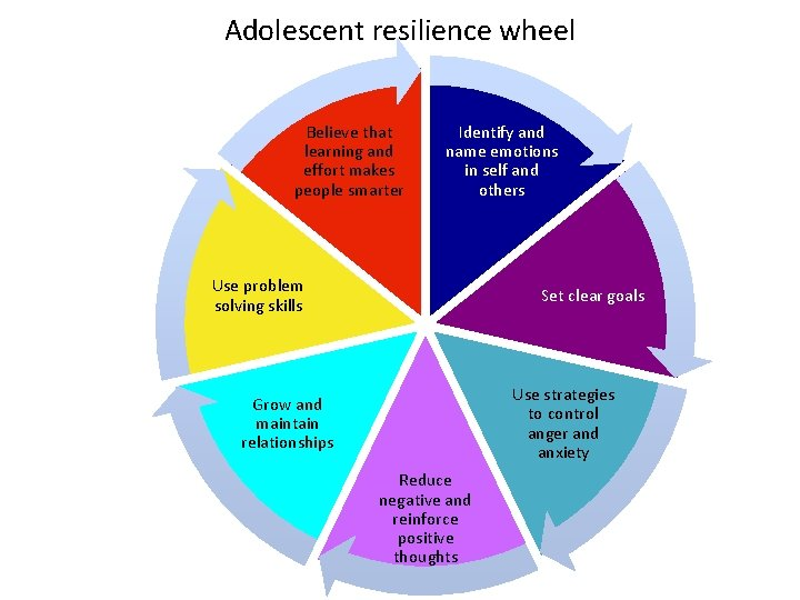 Adolescent resilience wheel Believe that learning and effort makes people smarter Identify and name