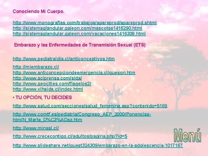 Conociendo Mi Cuerpo. http: //www. monografias. com/trabajos/apareprod. shtml http: //sistemaglandular. galeon. com/mascotas 1416290. html