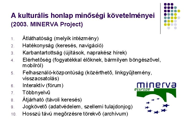 A kulturális honlap minőségi követelményei (2003. MINERVA Project) 1. 2. 3. 4. 5. 6.