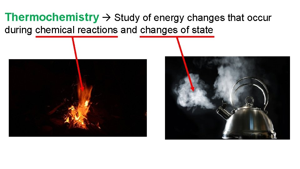 Thermochemistry Study of energy changes that occur during chemical reactions and changes of state