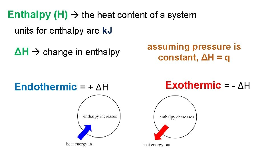 Enthalpy (H) the heat content of a system units for enthalpy are k. J