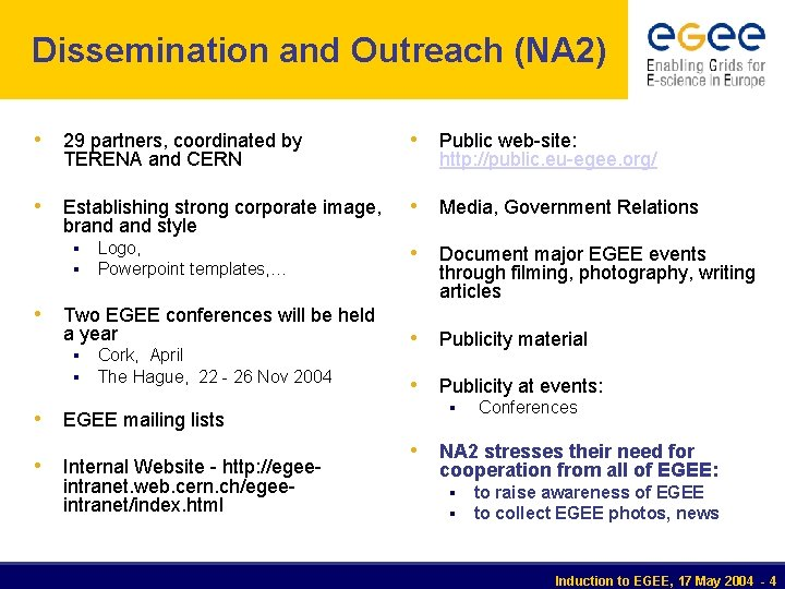 Dissemination and Outreach (NA 2) • 29 partners, coordinated by • Public web-site: •
