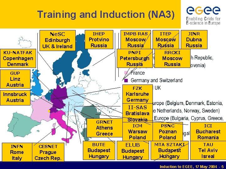 Training and Induction (NA 3) Ne. SC Edinburgh UK & Ireland IHEP IMPB RAS