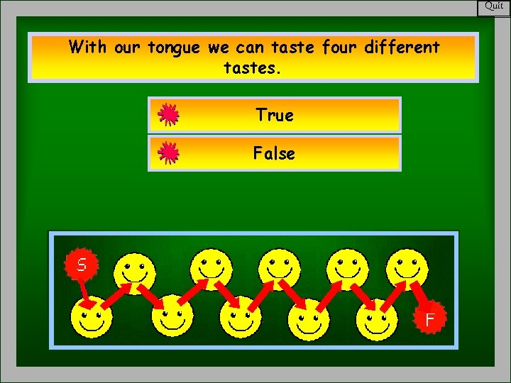 Quit With our tongue we can taste four different tastes. True False