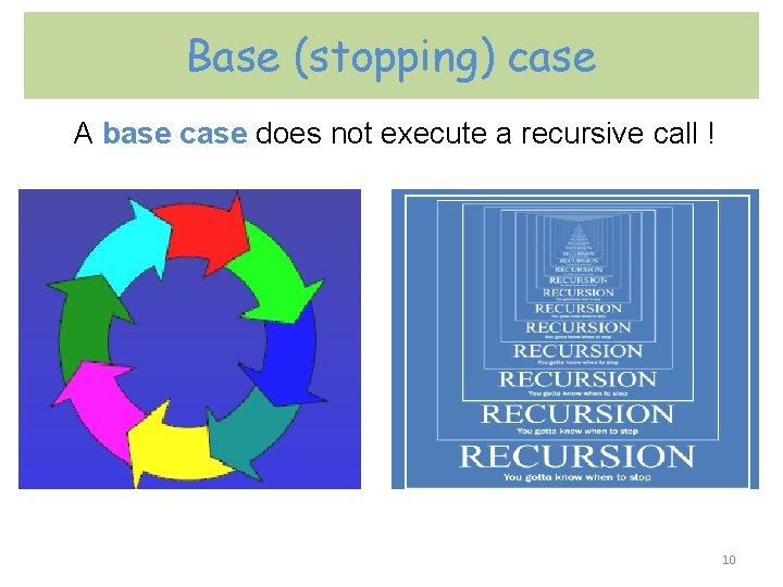 Base (stopping) case A base case does not execute a recursive call ! 10