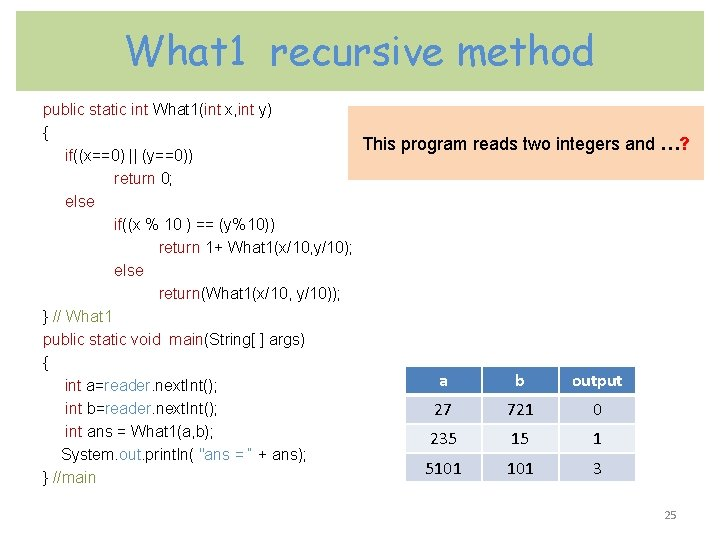 What 1 recursive method public static int What 1(int x, int y) { This