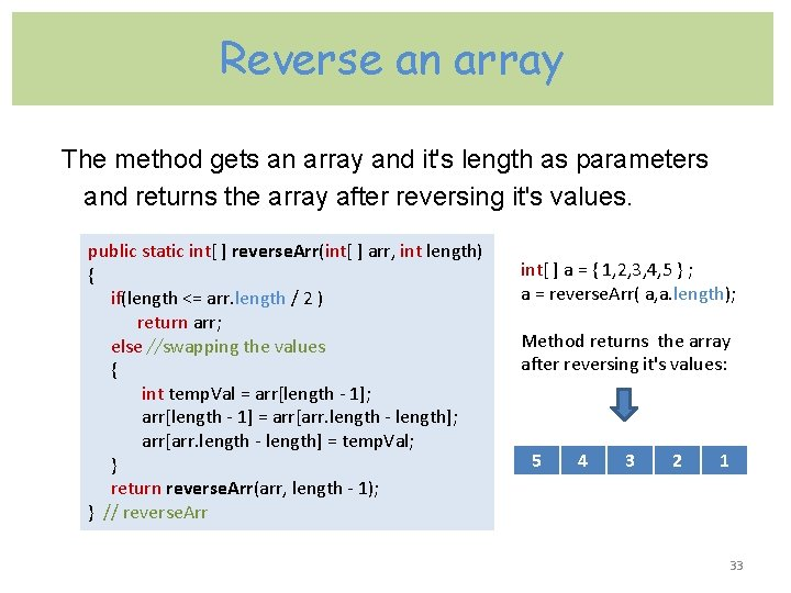 Reverse an array The method gets an array and it's length as parameters and