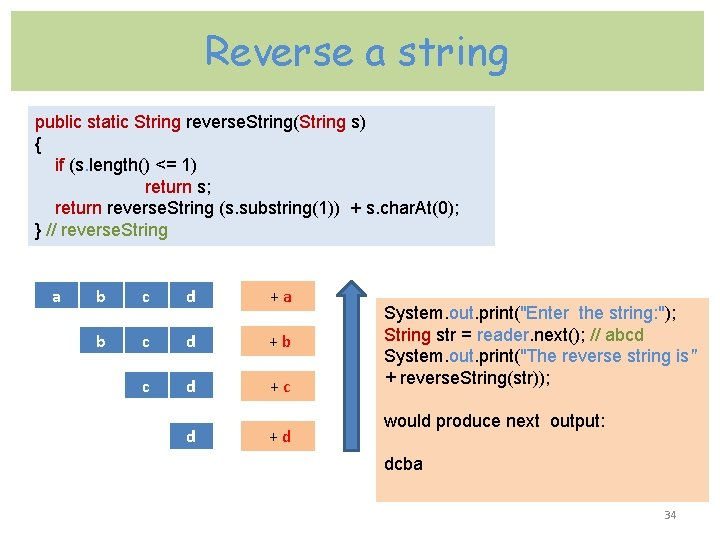 Reverse a string public static String reverse. String(String s) { if (s. length() <=