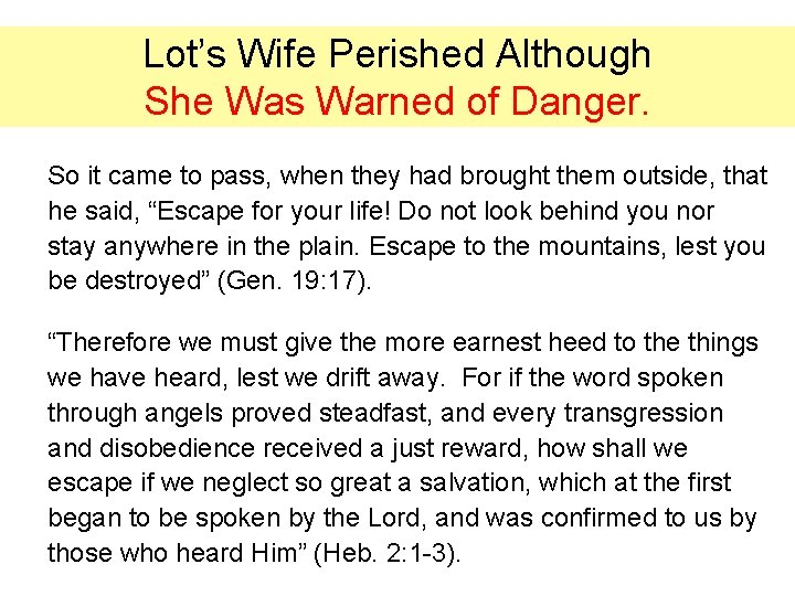 Lot's Wife Perished Although She Was Warned of Danger. So it came to pass,