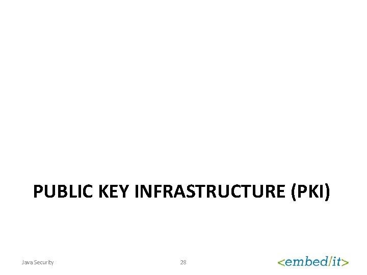 PUBLIC KEY INFRASTRUCTURE (PKI) Java Security 28