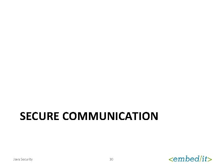 SECURE COMMUNICATION Java Security 30