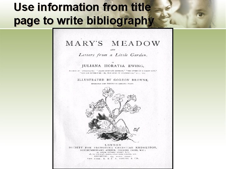 Use information from title page to write bibliography