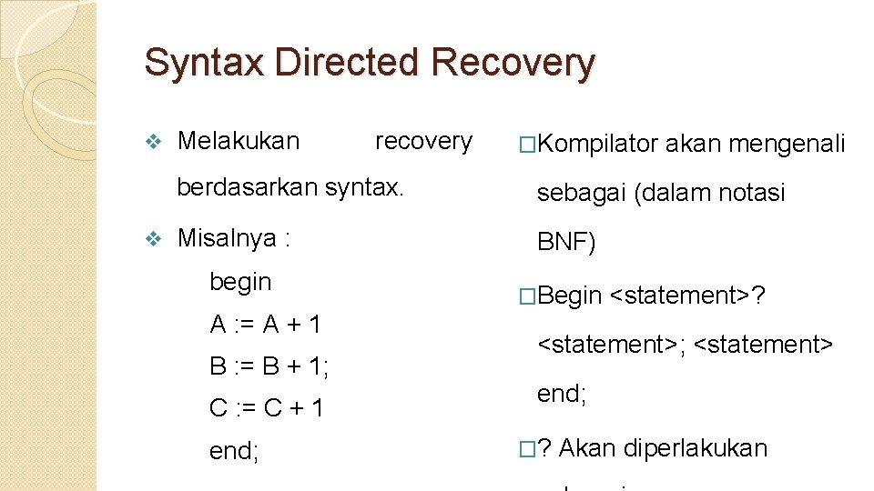 Syntax Directed Recovery v v Melakukan recovery �Kompilator akan mengenali berdasarkan syntax. sebagai (dalam