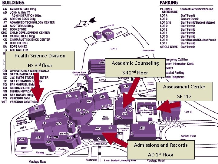 Health Science Division HS 3 rd floor Academic Counseling SR 2 nd Floor Assessment