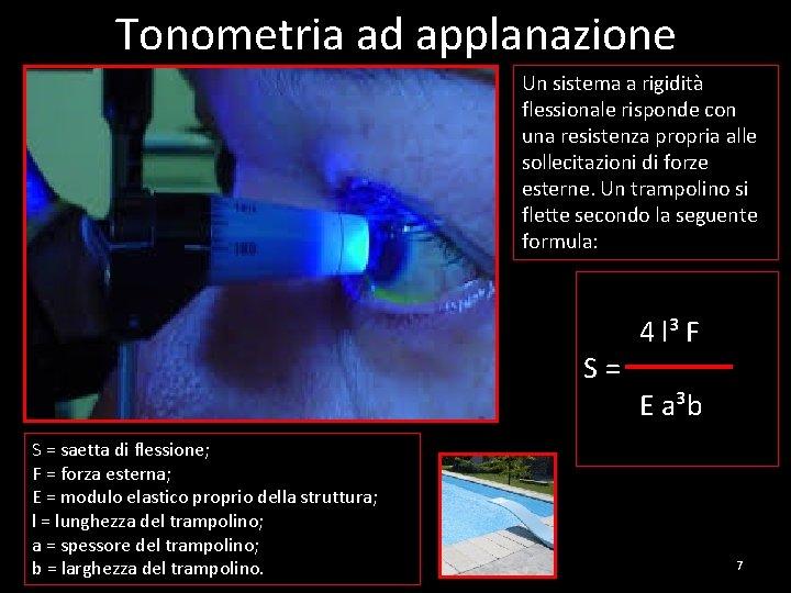Tonometria ad applanazione Un sistema a rigidità flessionale risponde con una resistenza propria alle