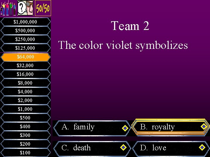 Team 2 $1, 000 $500, 000 $250, 000 $125, 000 The color violet symbolizes
