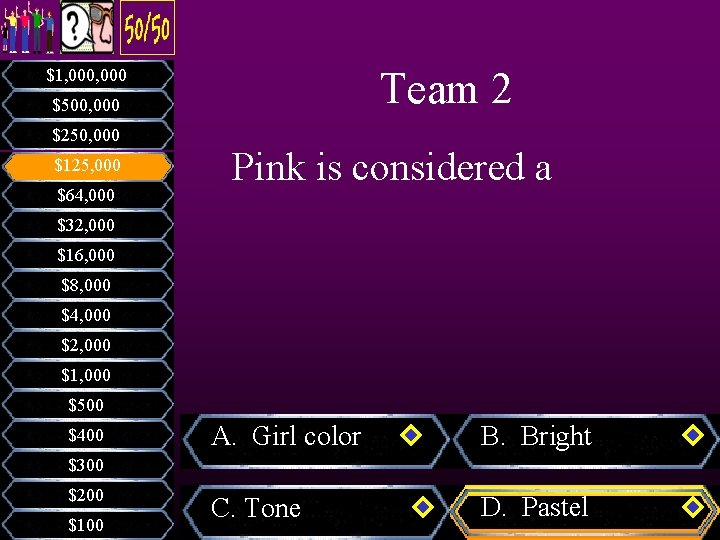 Team 2 $1, 000 $500, 000 $250, 000 $125, 000 $64, 000 Pink is