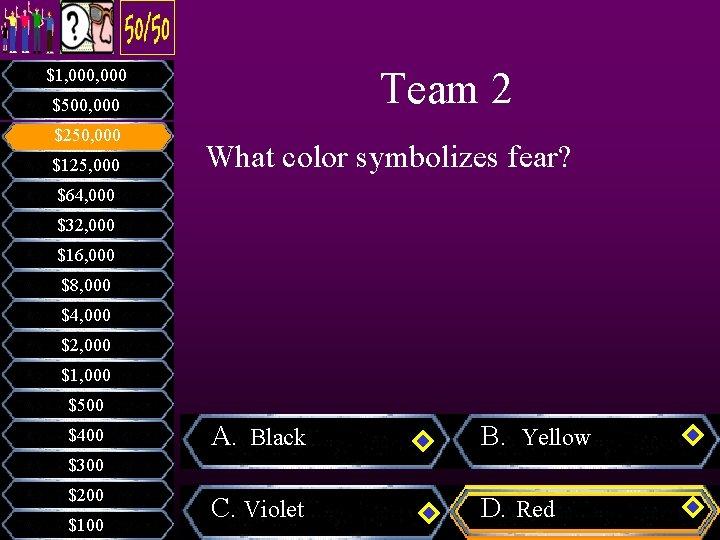 Team 2 $1, 000 $500, 000 $250, 000 $125, 000 What color symbolizes fear?