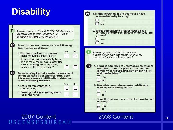Disability 2007 Content 2008 Content 14
