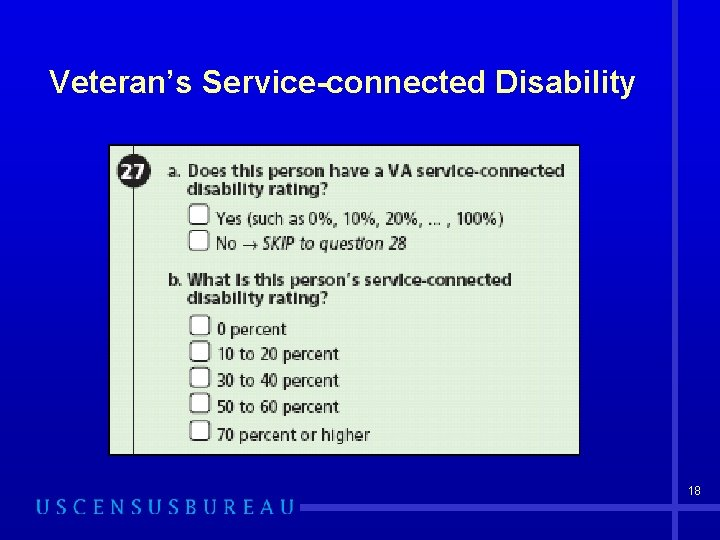 Veteran's Service-connected Disability 18