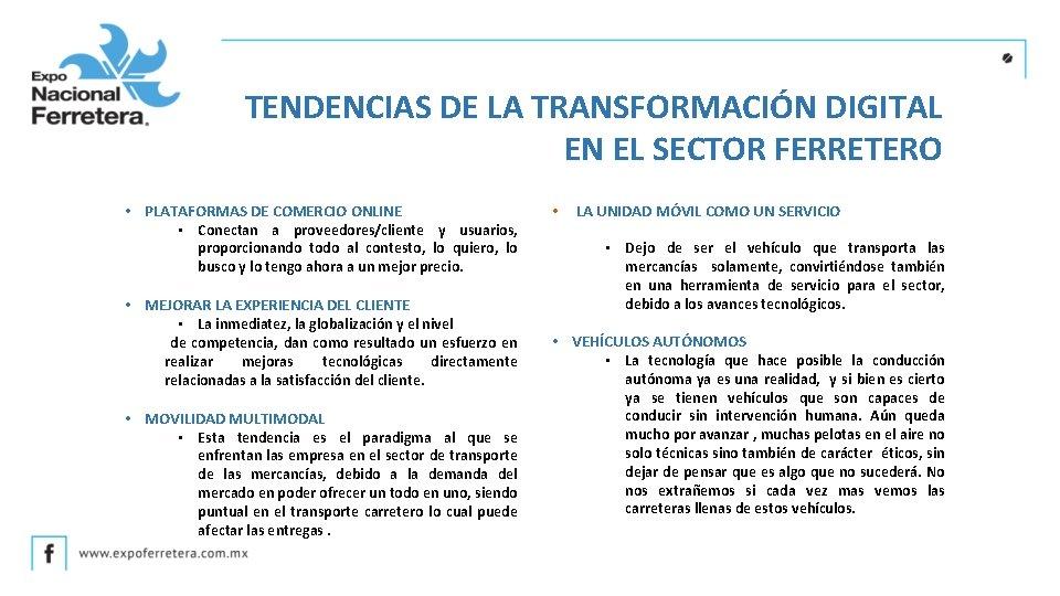 TENDENCIAS DE LA TRANSFORMACIÓN DIGITAL EN EL SECTOR FERRETERO • PLATAFORMAS DE COMERCIO ONLINE