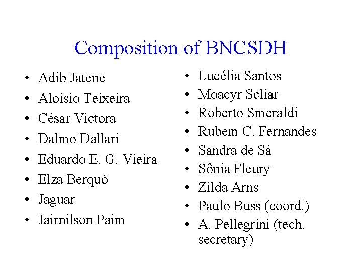 Composition of BNCSDH • • Adib Jatene Aloísio Teixeira César Victora Dalmo Dallari Eduardo