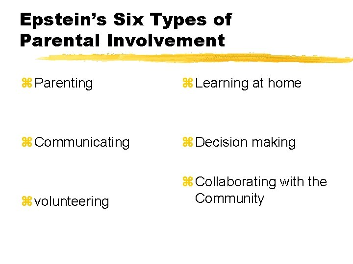 Epstein's Six Types of Parental Involvement z Parenting z Learning at home z Communicating