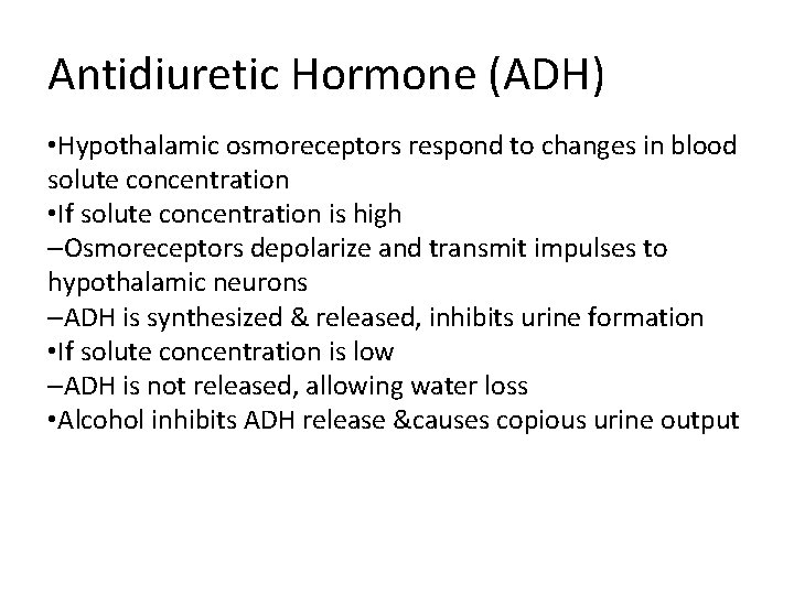 Antidiuretic Hormone (ADH) • Hypothalamic osmoreceptors respond to changes in blood solute concentration •