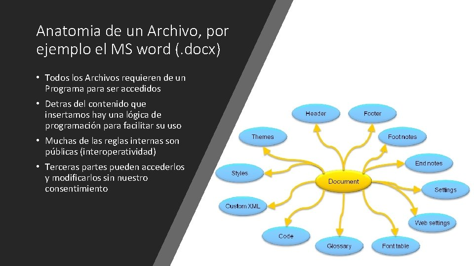 Anatomia de un Archivo, por ejemplo el MS word (. docx) • Todos los