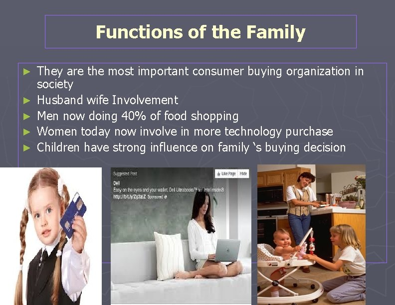 Functions of the Family ► ► ► They are the most important consumer buying