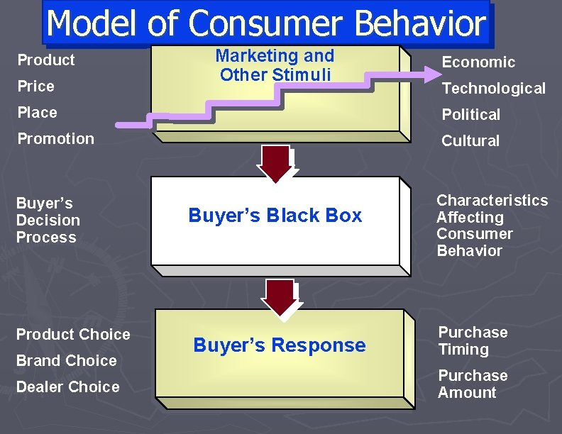 Model of Consumer Behavior Product Price Marketing and Other Stimuli Economic Technological Place Political