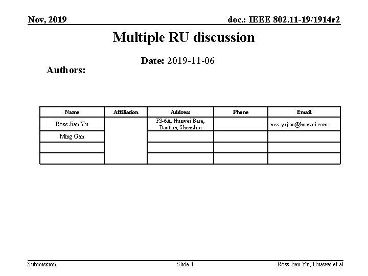 Nov, 2019 doc. : IEEE 802. 11 -19/1914 r 2 Multiple RU discussion Date: