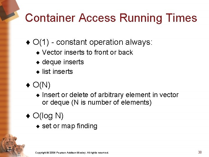 Container Access Running Times ¨ O(1) - constant operation always: ¨ Vector inserts to